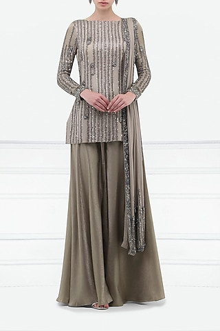 Sand Grey Embroidered Kurta and Sharara Pants Set by Esse