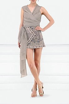 Grey Embroidered Overlap Skirt by Esse