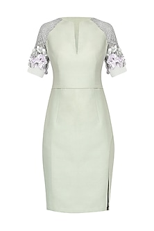 Mint Green Embroidered Dress by Esse