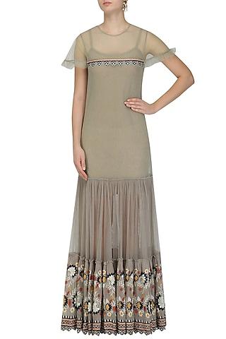 Grey Floral Embroidered Boho Maxi Dress by Esha Sethi Thirani