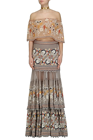 Grey Floral Work Boho Skirt and Peach Bardot Top Set by Esha Sethi Thirani