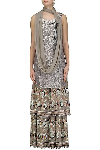 Grey Sequins Embroidered Kurta and Sharara Pants Set by Esha Sethi Thirani