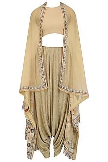 Gold Dhoti Pants and Floral Embroidered Jacket Set by Esha Sethi Thirani