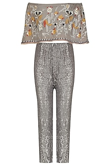 Grey Sequins Pants and Floral Embroidered Off Shoulder Top Set by Esha Sethi Thirani