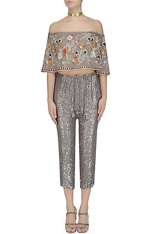 Grey Sequins Pants and Floral Embroidered Off Shoulder Top Set by Esha Sethi Thirani