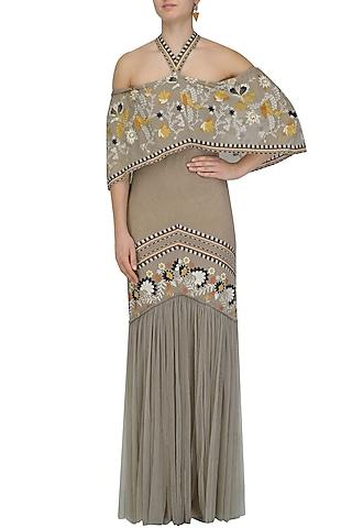 Grey Floral Work Off Shoulder Bardot Dress by Esha Sethi Thirani