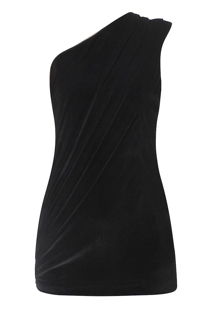 Black One Shoulder Drape Top by Esse Vie