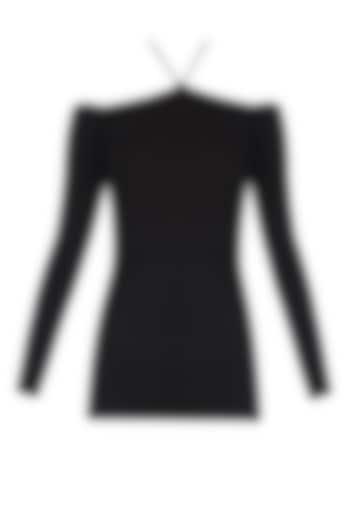 Black Cold Shoulder Halter Neck Top by Esse Vie