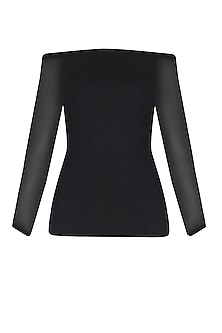 Black Balloon Sleeves Off Shoulder Top by Esse Vie