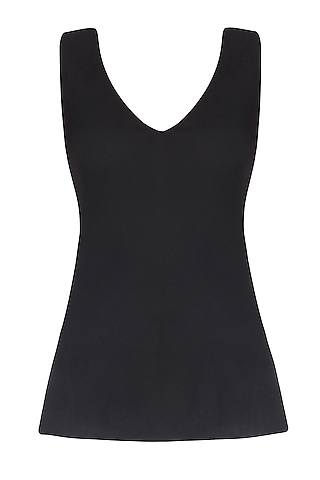 Black V Neck Cutout Sleeveless Top by Esse Vie