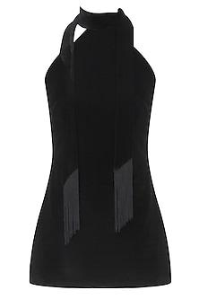 Black High Neck Tie Up Top With Silk Tassels by Esse Vie