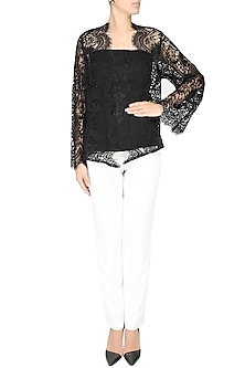Black Lace Front Open Kimono Cardigan by Esse Vie