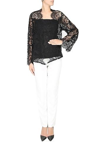 Black Lace Front Open Kimono Cardigan by Esse Vie