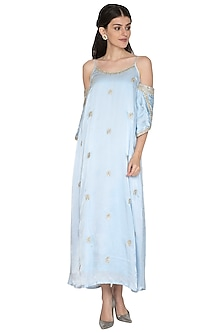 Grey Cold-Shoulder Embroidered Gown by ETIKA
