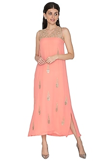 Peach Embroidered Sleeveless Gown by ETIKA
