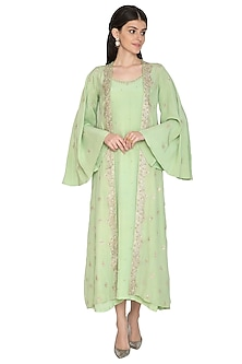 Green Gown With Embroidered Jacket by ETIKA