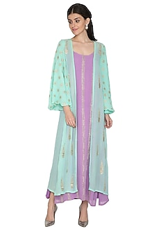 Lavender Gown With Embroidered Jacket by ETIKA