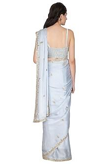 Grey Embroidered Saree Set by ETIKA SANCHETI