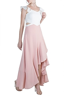 White & Pink A-Line Maxi Dress by Etre
