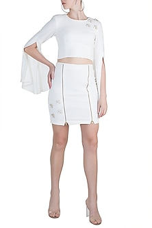 White Embellished Top With Mini Skirt by Etre