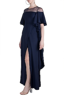 Navy Blue Overlap Maxi Dress by Etre