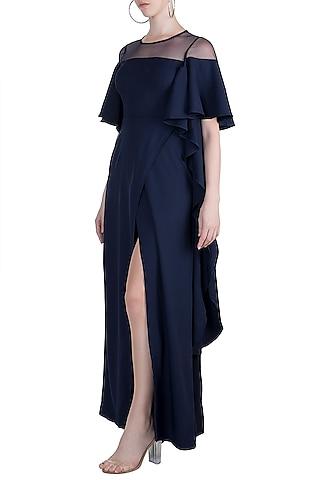 Navy Blue Overlap Maxi Dress by Etre