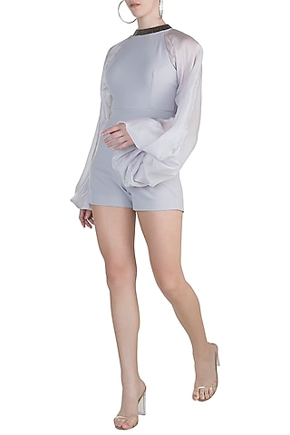 Grey Embellished Playsuit by Etre