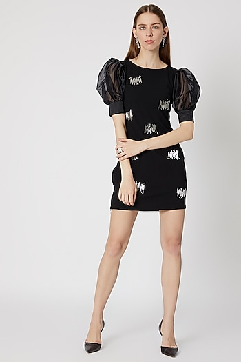 Black Puff Sleeved & Embellished Mini Dress by Etre