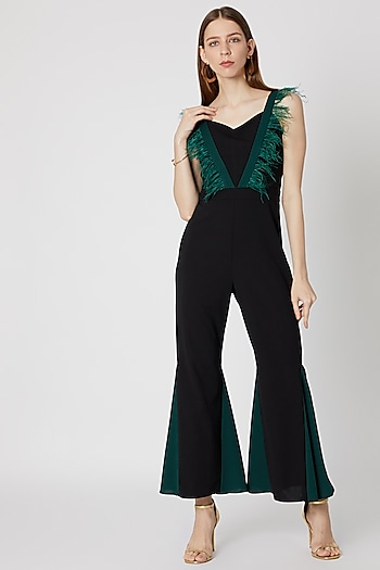 Black Jumpsuit With Feather Details by Etre