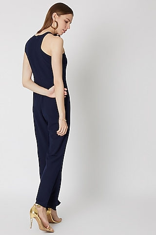 Navy Blue Jumpsuit With Buttons by Etre