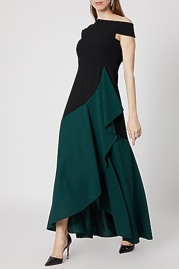 Black & Teal Green Ruffled Gown by Etre