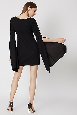 Black Hand Embellished Mini Dress by Etre