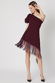 Burgundy One Shoulder Fringed Dress by Etre
