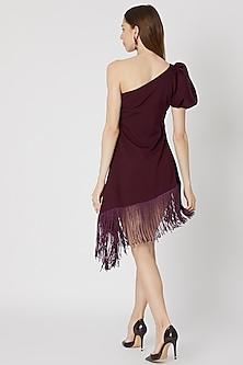 Burgundy One Shoulder Fringed Dress by Etre