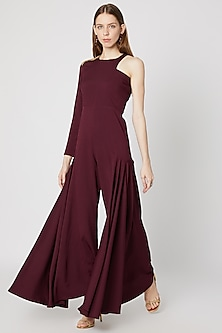 Burgundy Embellished & Ruffled Jumpsuit by Etre