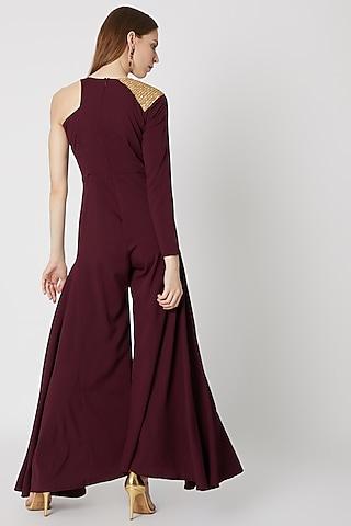 Burgundy Embellished & Ruffled Jumpsuit by Etre