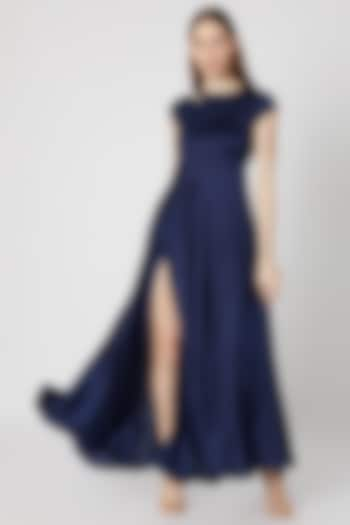 Navy Blue Flared Gown by Etre