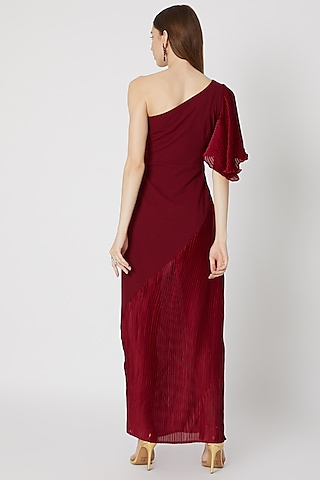 Burgundy One Shoulder Pleated Gown by Etre