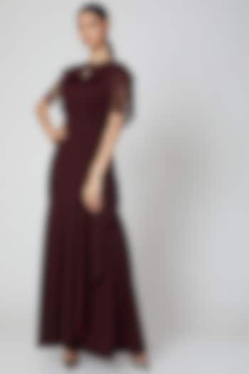 Wine Maxi Dress With Cape by Etre