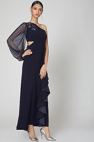 Cobalt Blue Ruffled Maxi Dress by Etre