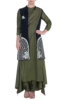 Olive Green Embroidered Jacket with Kurta and Salwar by Etika