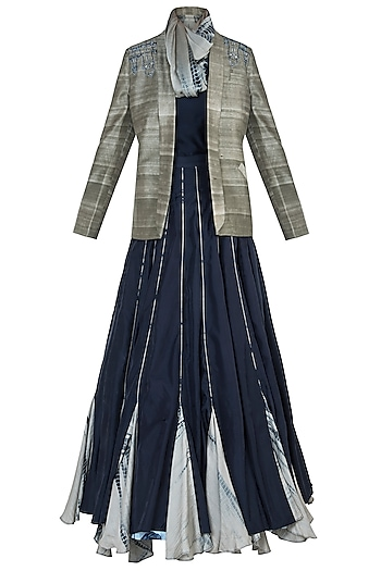 Navy Blue Embroidered Lehenga Skirt with Top, Scarf and Jacket by ETIKA SANCHETI