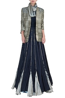 Navy Blue Embroidered Lehenga Skirt with Top, Scarf and Jacket by Etika
