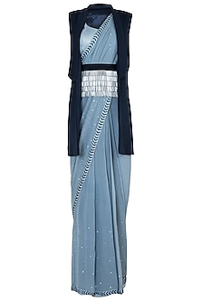 Powder Blue Embroidered Pre-Stitched Saree Set by Etika
