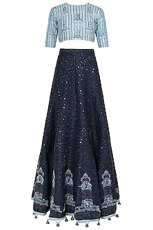 Navy Blue Embroidered Lehenga Set by Etika