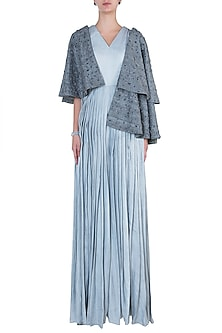 Grey Embroidred Cape with Jumpsuit by Etika