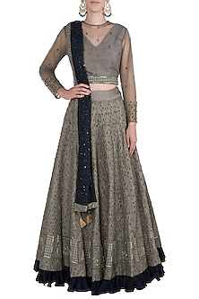 Olive green embroidered lehenga set by ETIKA