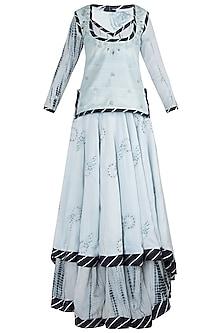 Light blue embroidered lehenga set by ETIKA