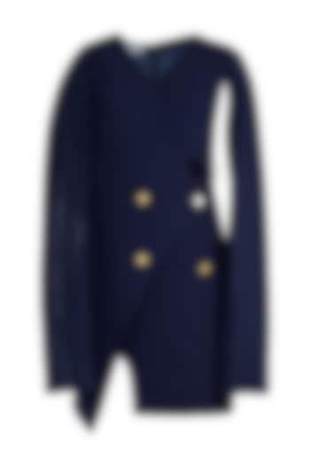 Navy Blue Asymmetric Trench Dress by Etre