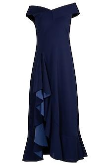Navy Blue Bardot Ruffle Maxi Dress by Etre